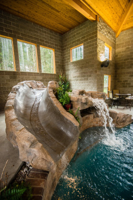 Water Slide Designed for Custom Pool