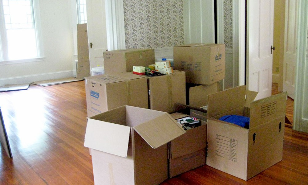 Room full of moving boxes